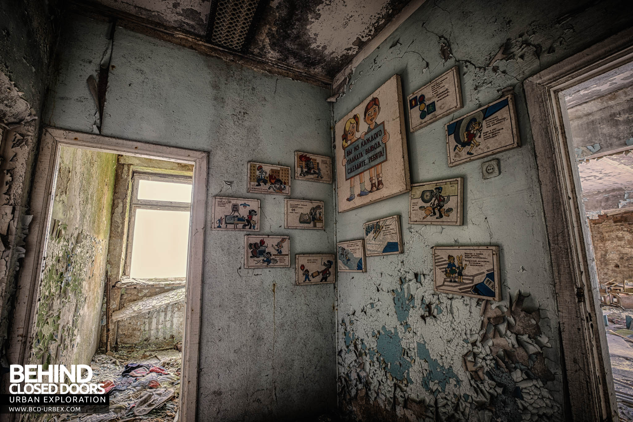 Pripyat Schools and Nurseries - Cartoon style pictures on the wall