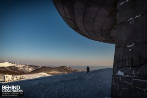Buzludzha - Man dwarfed by the monument