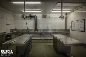 Queen Elizabeth II Hospital - Two of the morgue slabs