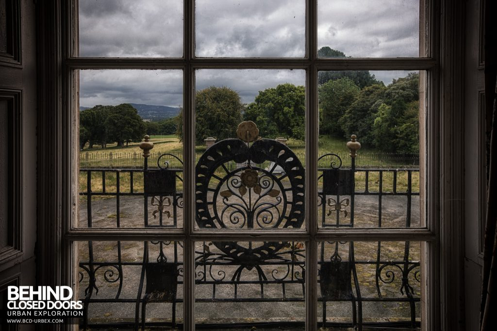 Kinmel Hall - Ironwork through window