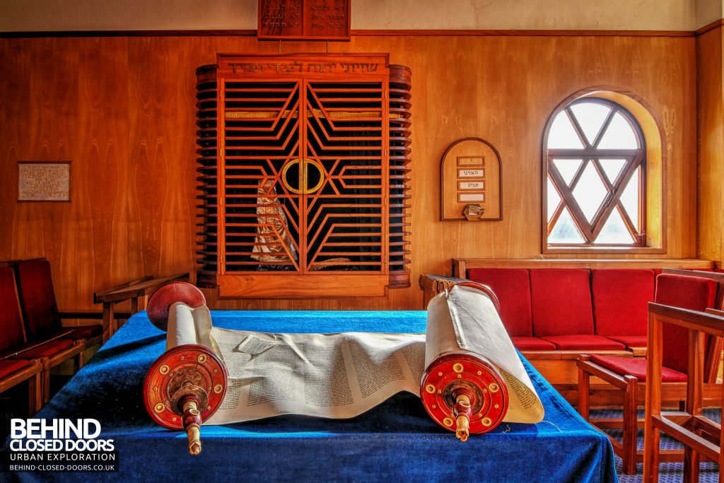 Greenbank Synagogue - Torah scroll in a side room