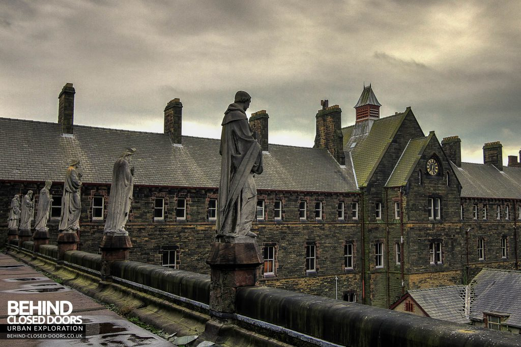 St Joseph's Seminary Upholland - Statues in front of clock tower
