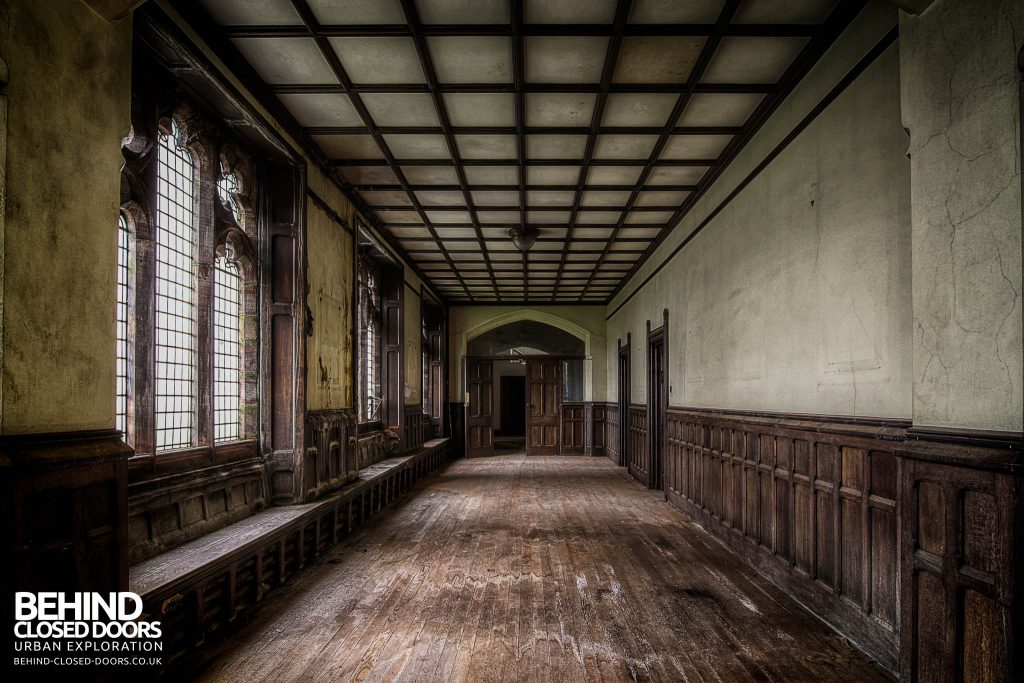 St Joseph's Seminary Upholland - Wood panelling in corridor