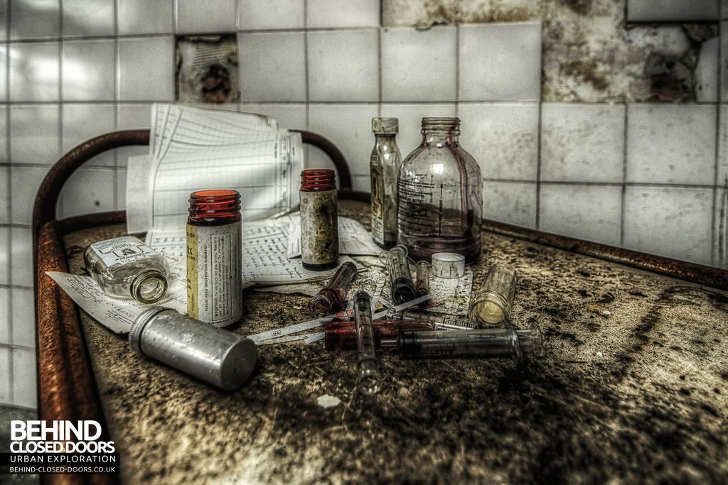 St Gerard's TB Hospital - Medical items, blood stained jars and syringes