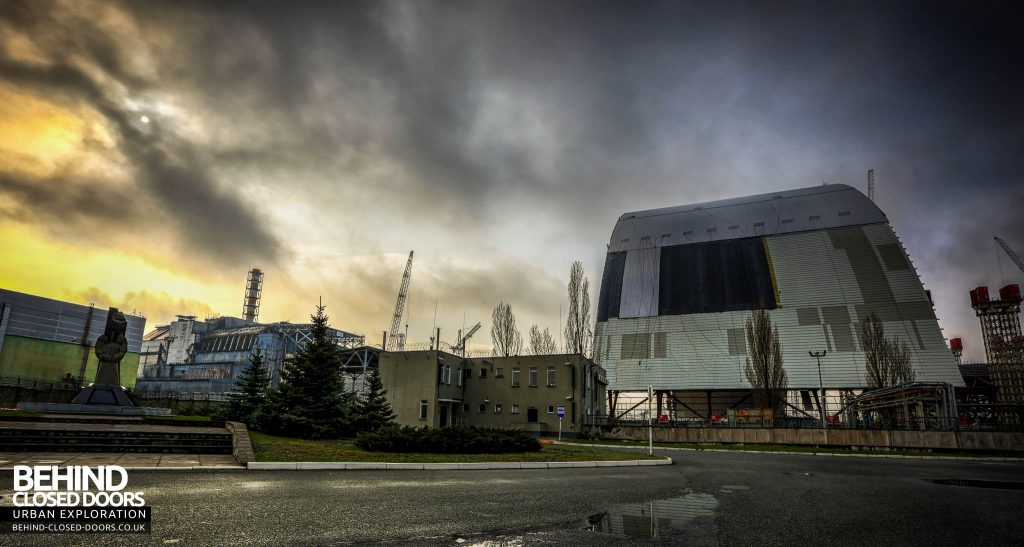 Chernobyl Nuclear Power Plant - The NSC behind reactor 4 and the monument