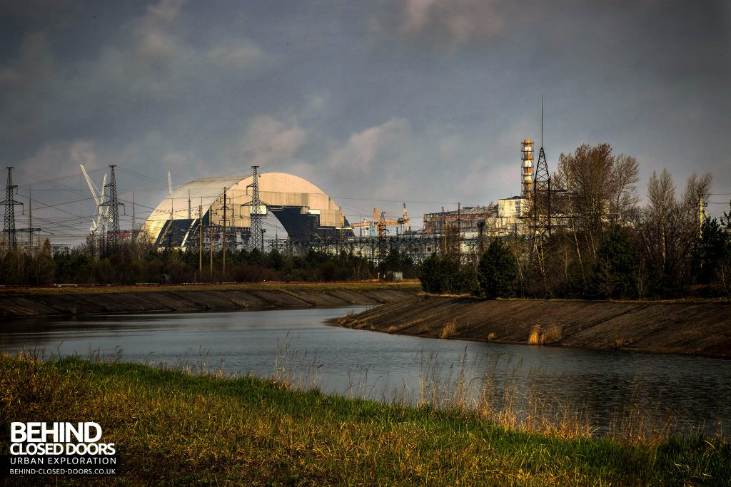 Chernobyl Nuclear Power Plant - Viewed from across the river to the South East