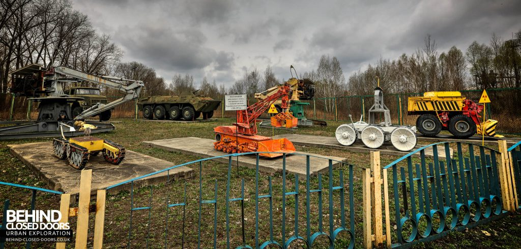 Chernobyl Nuclear Power Plant - Some of the highly specialised remote controlled vehicles that were used in the clean-up operation are now on display in Chernobyl town. The vehicles are still radioactive