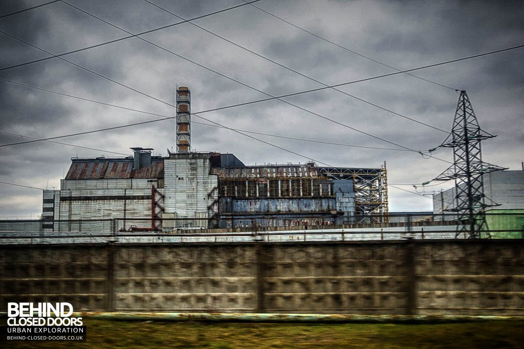 Chernobyl Nuclear Power Plant - Side view of Reactors 3 and 4