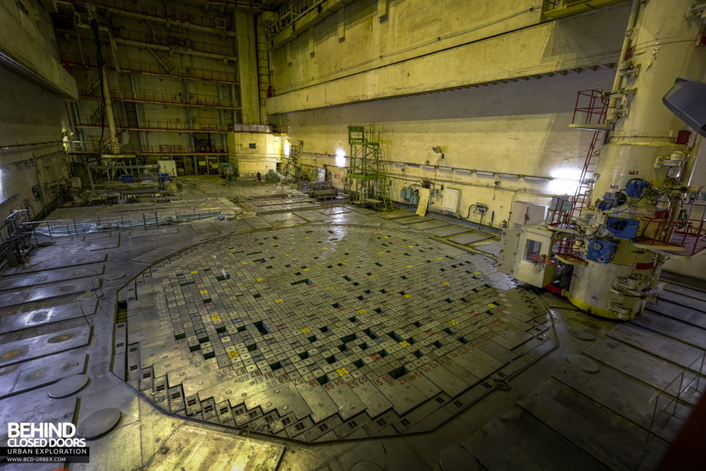 Chernobyl Power Plant - View over the reactor top. Each square block is a reactor channel, each of which contained a nuclear fuel rod when in use. The fuel has since been removed.