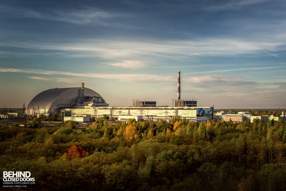 Chernobyl Power Plant - Units 1-4 and the New Safe Confinement, as viewed from the roof of Unit 5​