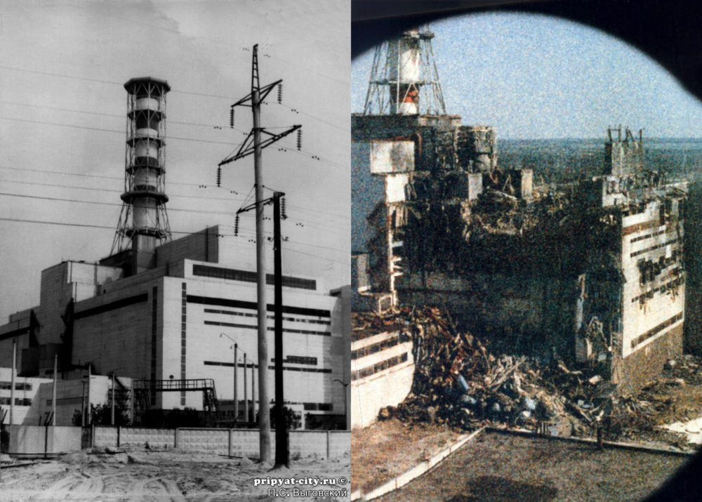 Unit 4 before and immediately after the accident in 1986