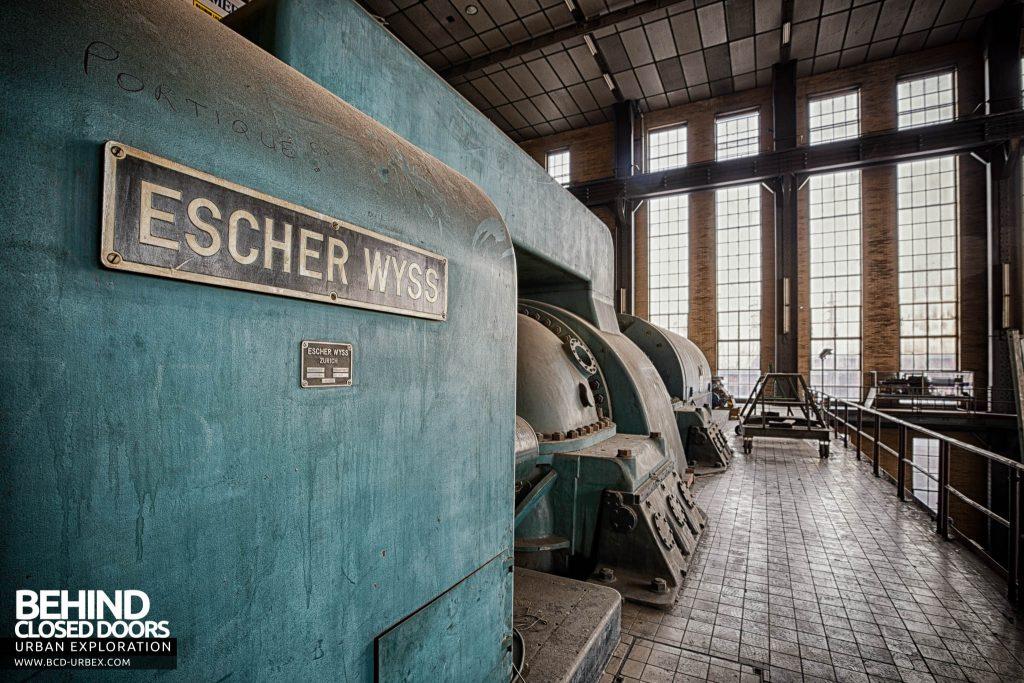 Ruien Power Plant - Escher Wyss turbine nameplate detail