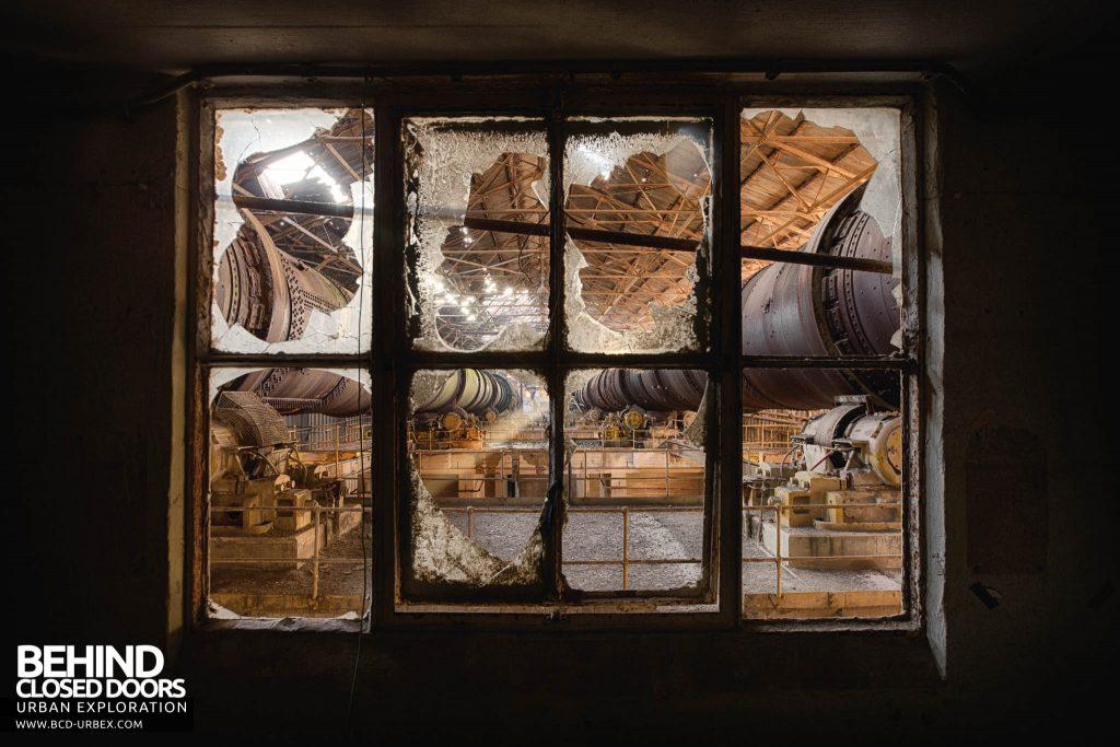 Shoreham Cement Works - Pipes through broken windows