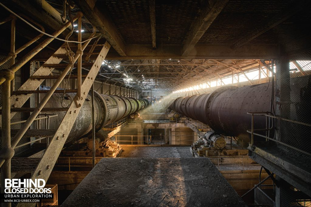 Shoreham Cement Works - Parallel Pipes - The twin kilns run the length of the building