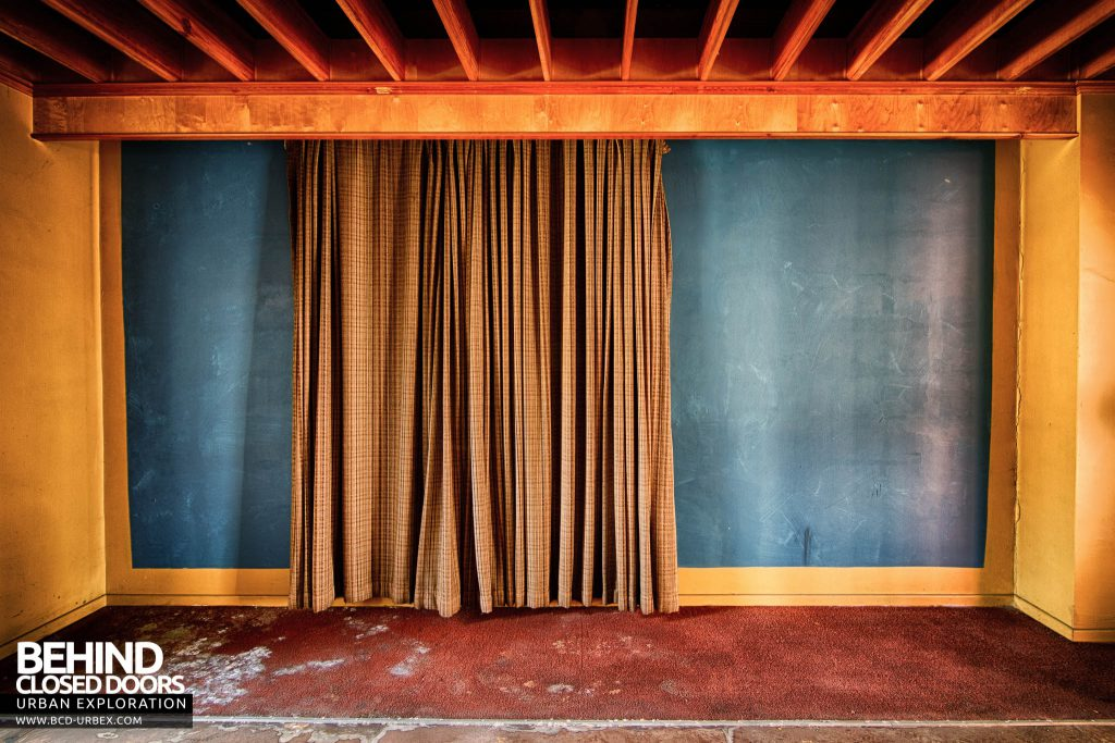 Globe Worsted Mills - Curtained wall, possibly a backdrop for presentations