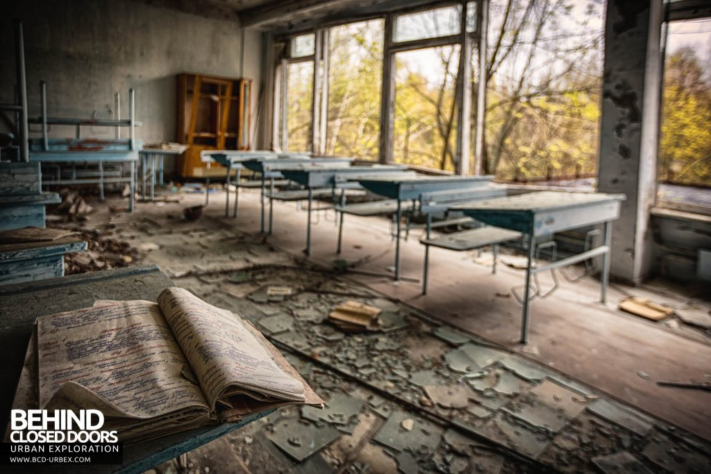 Pripyat Schools and Nurseries - Exercise book on a row of desks