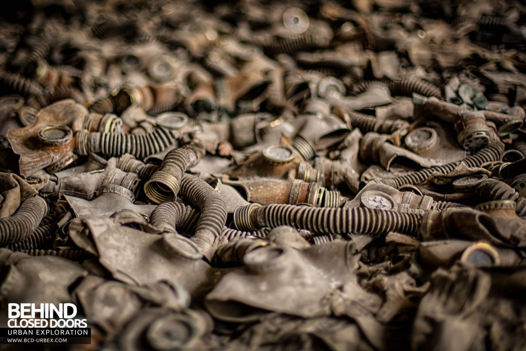 Pripyat Schools and Nurseries - A sea of gas masks from the Cold War era