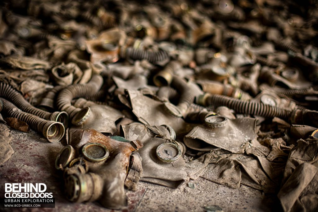 Pripyat Schools and Nurseries - Child sized gas masks on the floor