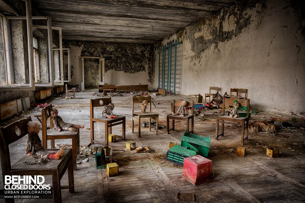 Pripyat Schools and Nurseries - Chairs set out in a circle with lots of toys around