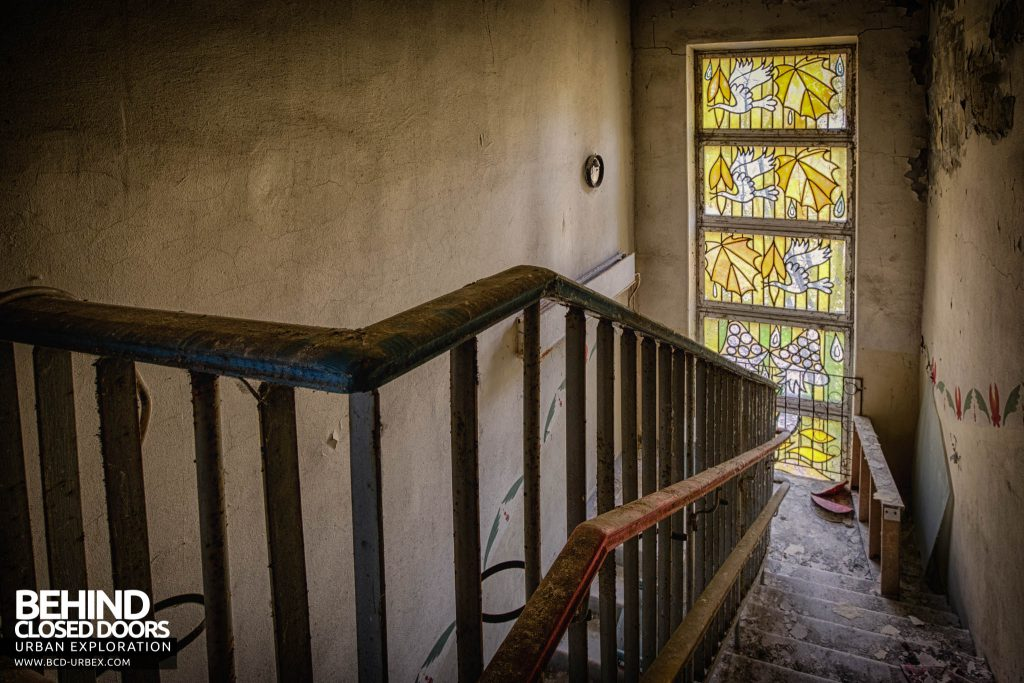 Pripyat Schools and Nurseries - Stained glass window in school staircase