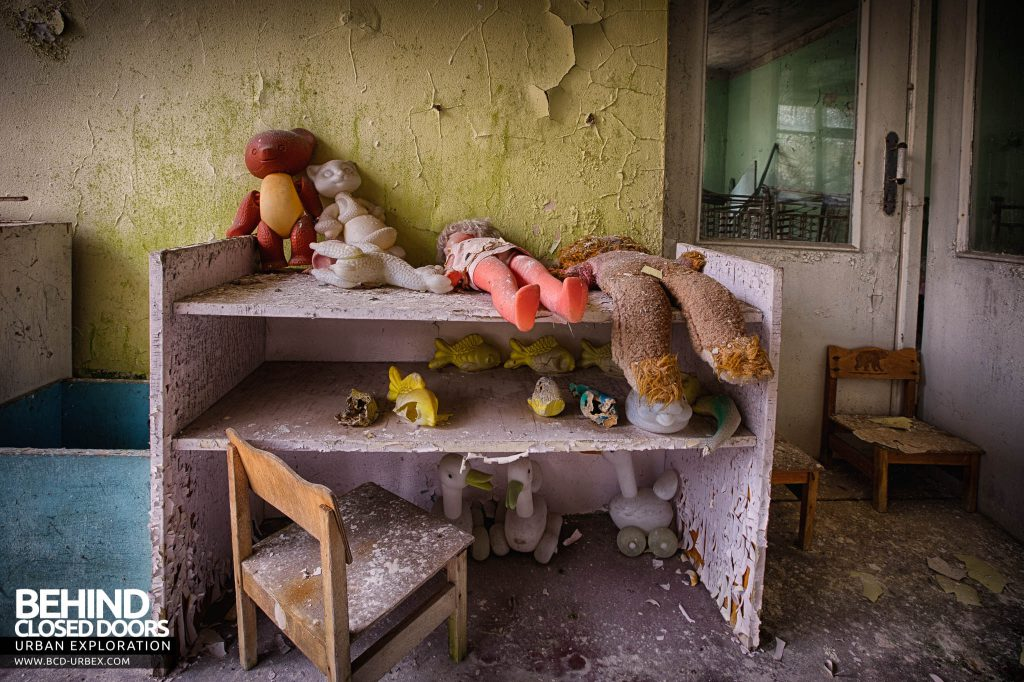 Pripyat Schools and Nurseries - Toys on a shelving unit