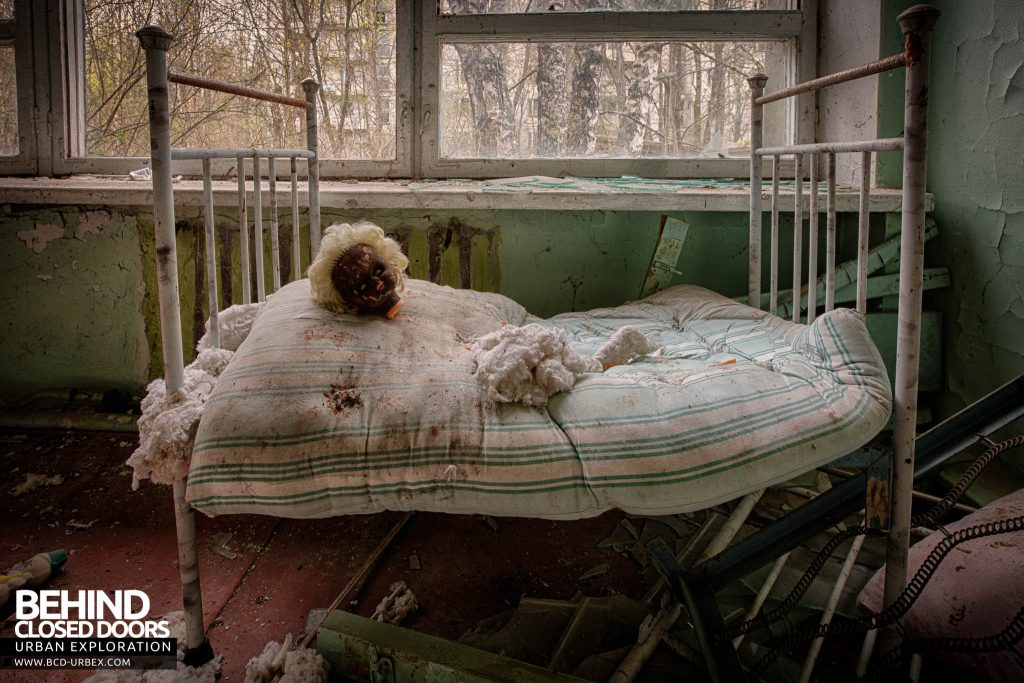 Pripyat Schools and Nurseries - Dolls head on a bed