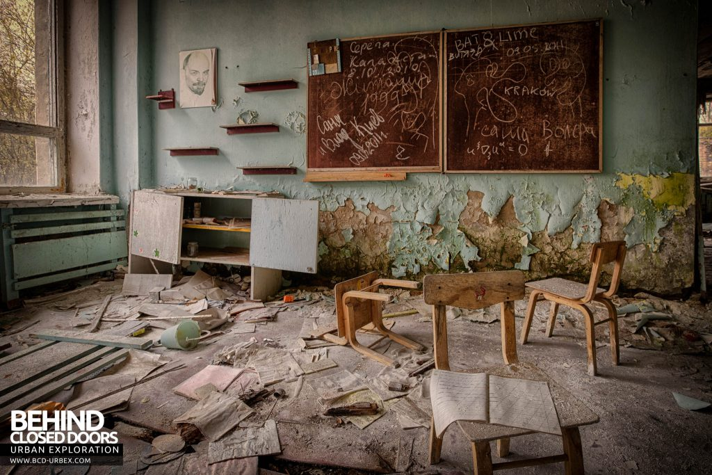 Pripyat Schools and Nurseries - Classroom with school work spread all over