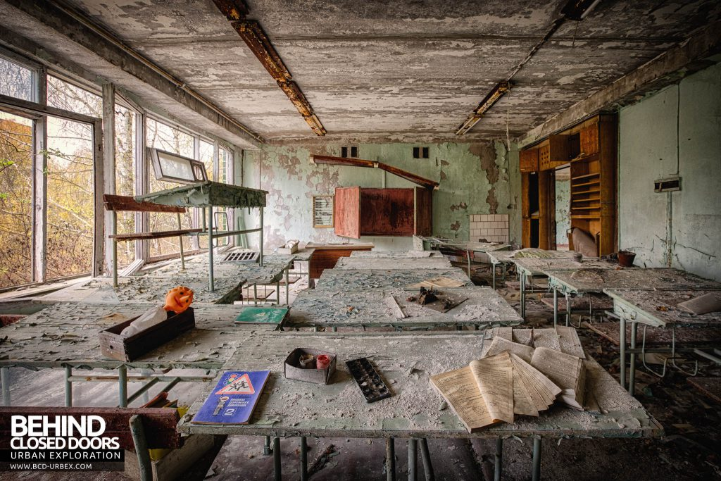 Pripyat Schools and Nurseries - A classroom with items on the desk