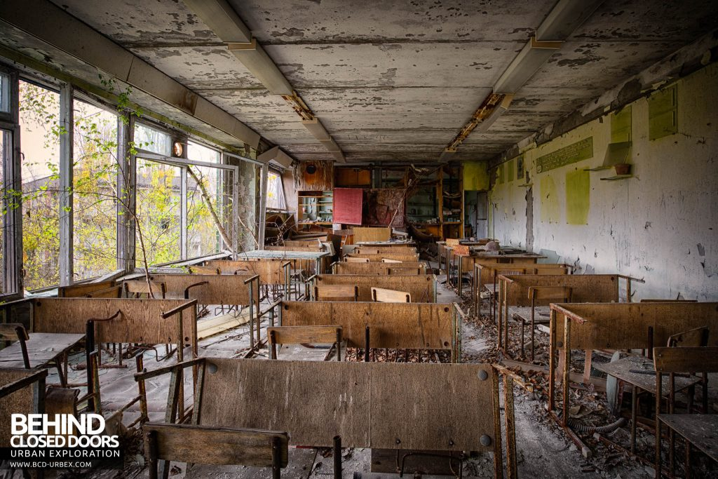 Pripyat Schools and Nurseries - Classroom with wooden desks