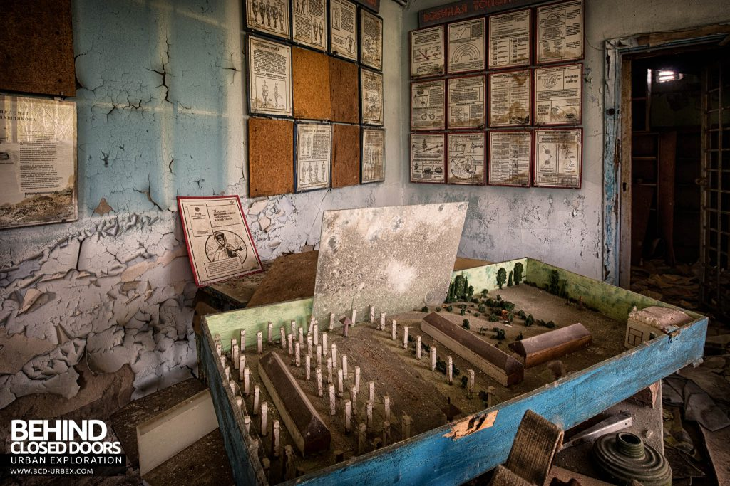 Pripyat Schools and Nurseries - Children's game and items on the wall