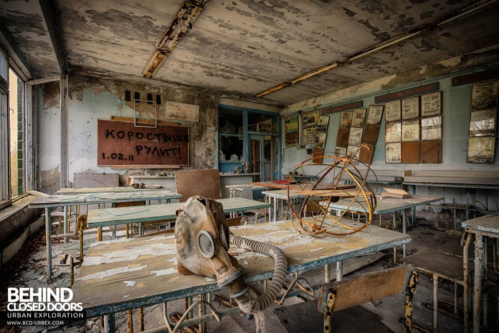 Pripyat Schools and Nurseries - Gas mask on a desk