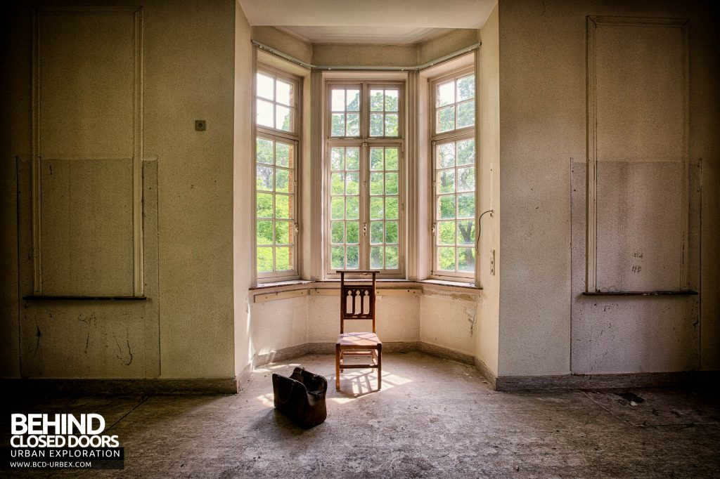 Salve Mater Psychiatric Hospital - Chair and open doctors bag in a bay window