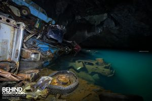 Cavern of the Lost Souls - Cars in the clear water