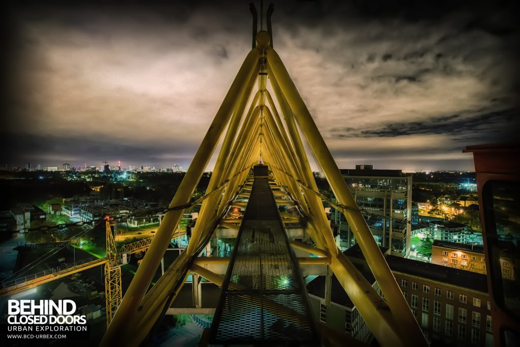 Tower Crane Climb - View along the jib