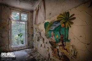 Blue Theatre Hospital - Monkey mural