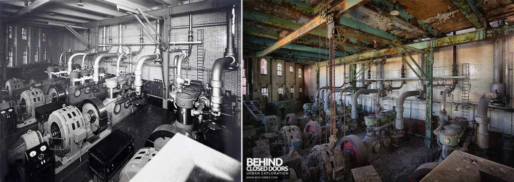 Grimsby Ice Factory Now and Then - Overview of the compressor hall