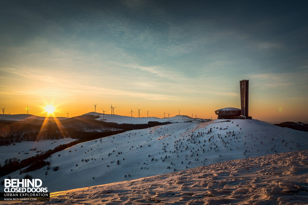 Buzludzha - The morning sunrises behind the monument