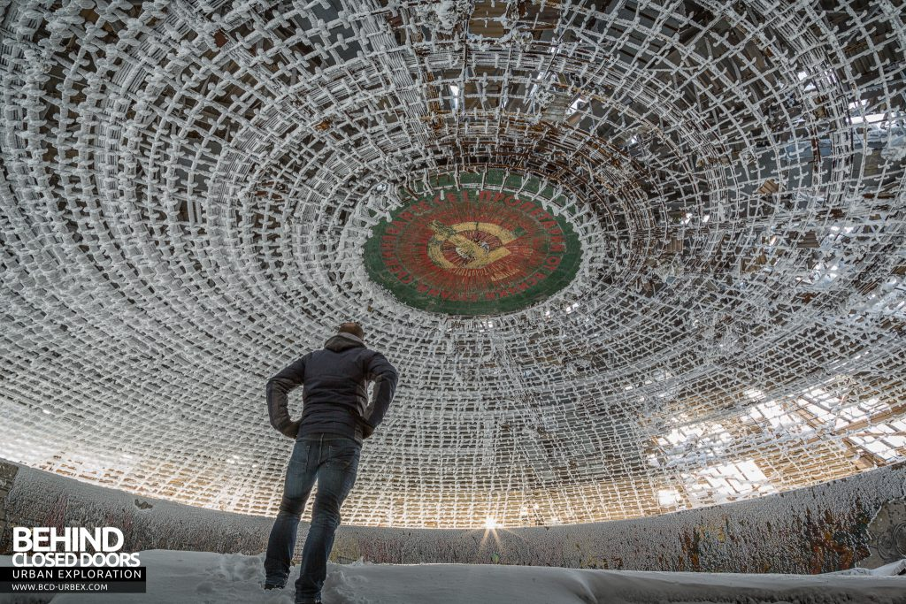 Buzludzha - Looking up at the huge hammer and sickle in the ceiling