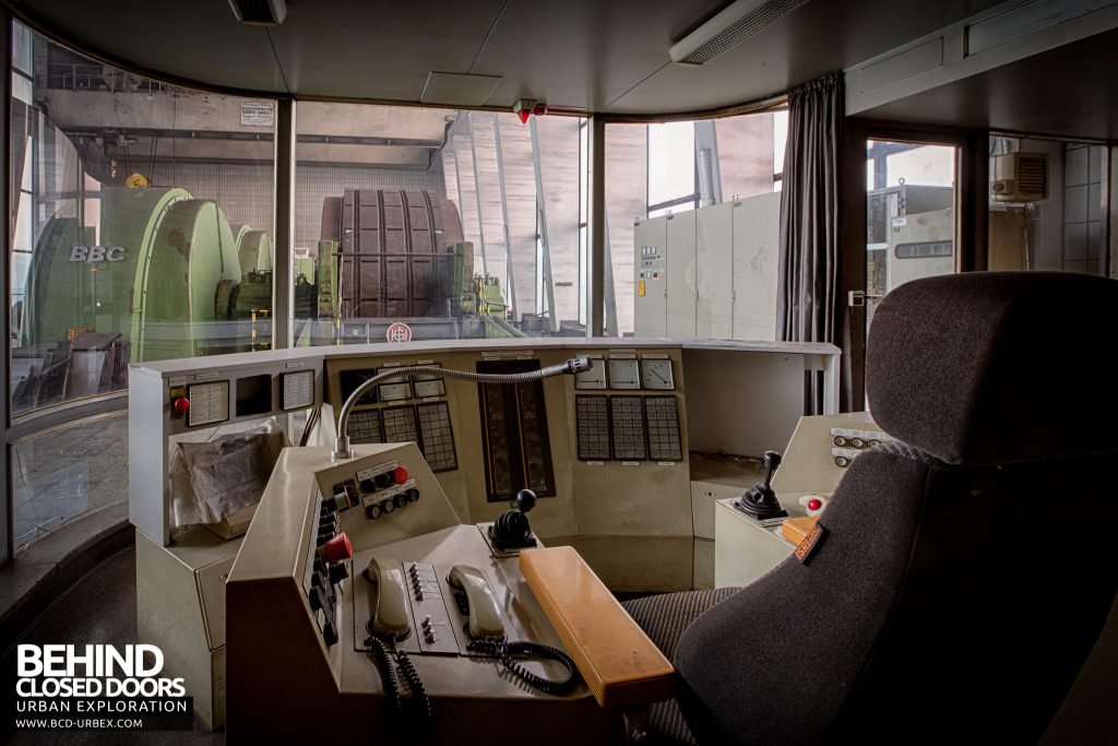 Bergwerk West Friedrich-Heinrich, Germany - The drivers view from inside the control booth