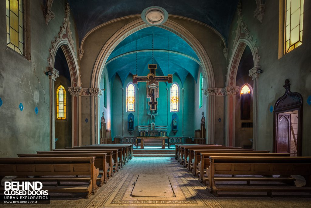 Blue Chapel Monastery, Italy - The main chapel with blue glowing sanctuary