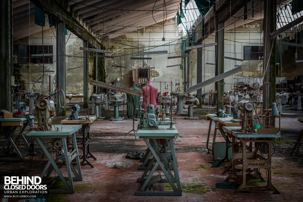 Knitting Factory, Italy - Rows of sewing machines