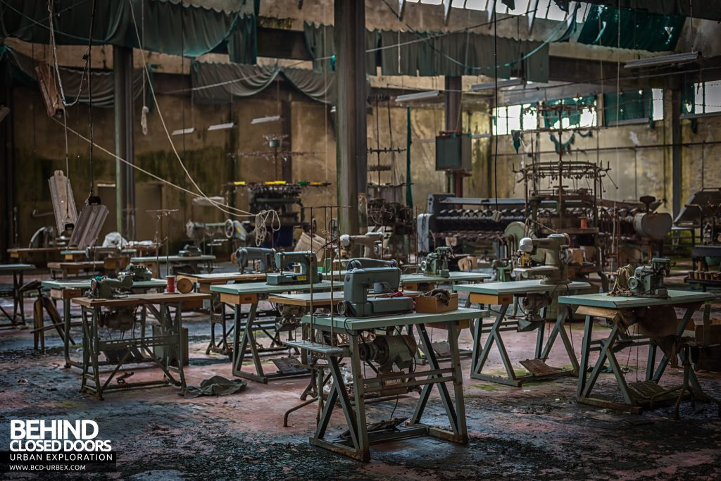 Knitting Factory, Italy - The factory was full of sewing machine stations