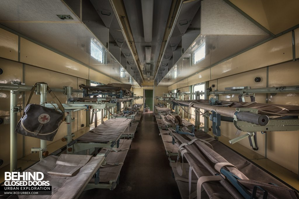 "Medical Train, Germany - The ""ward"" with rows of bunk beds for patients to sleep"