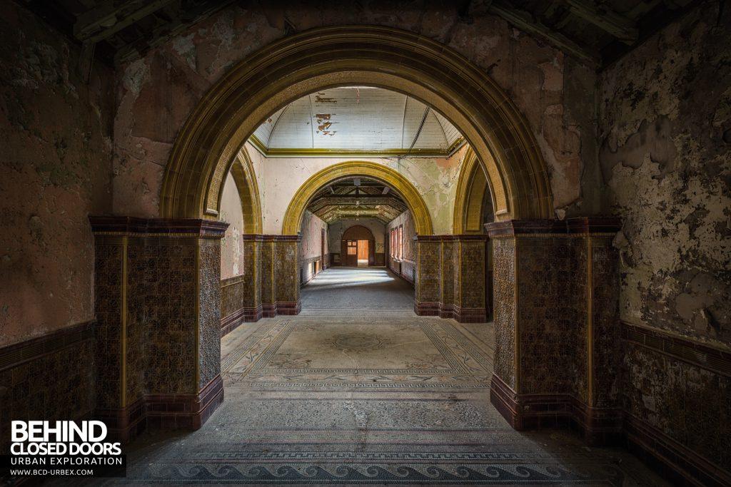 High Royds Asylum - Arches through arches in the main corridors