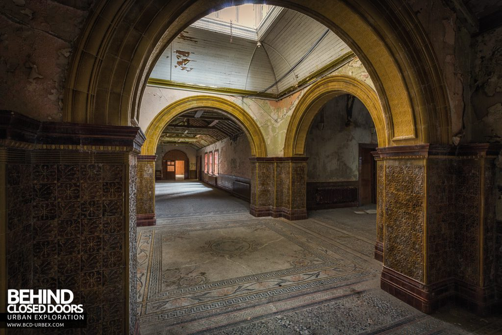 High Royds Asylum - Arches and mosaic tiled floor