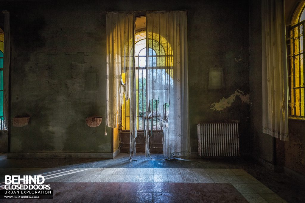 Mono Orphanage, Italy - Ageing window dressing in the chapel
