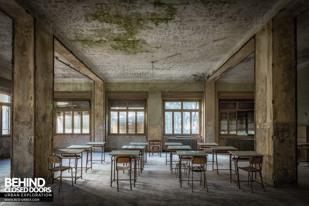 Mono Orphanage, Italy - Desks in a classroom