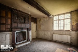 Pitchford Hall - Room with carved fireplace