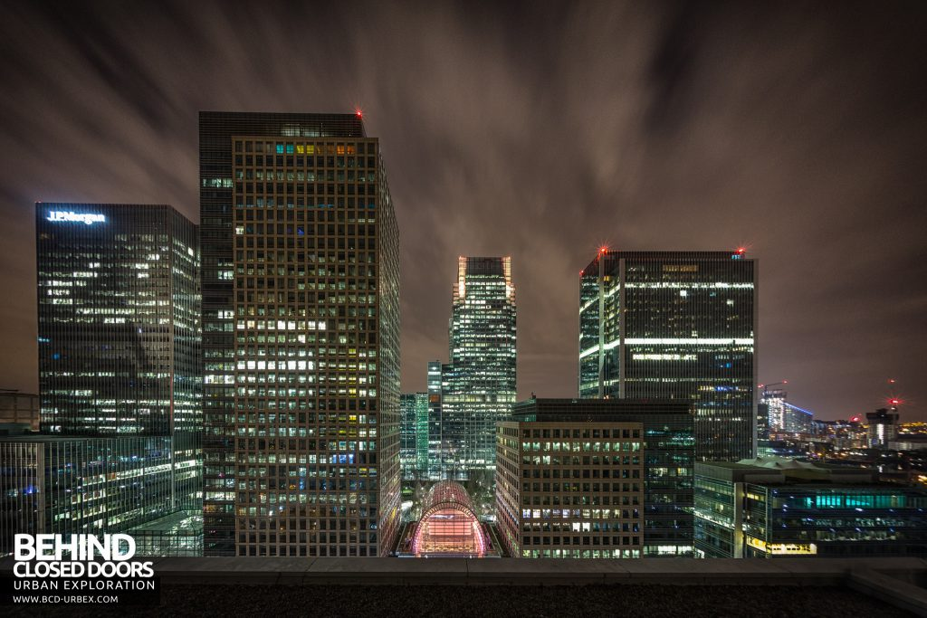 London Rooftops - Close up view of Canary Wharf
