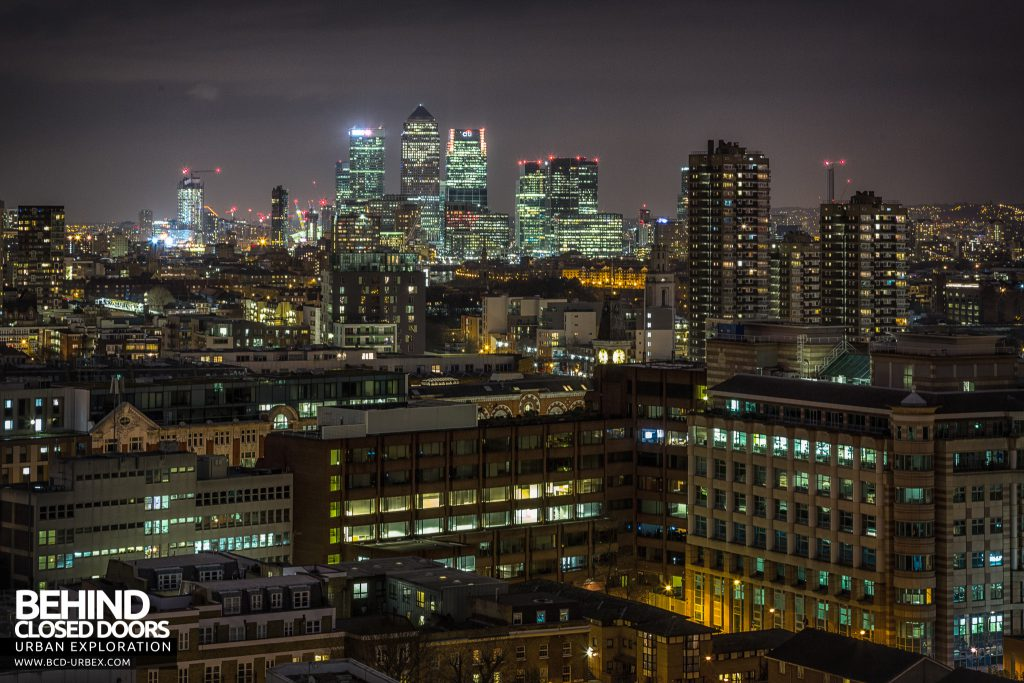 London Rooftops - Canary Wharf in the distance